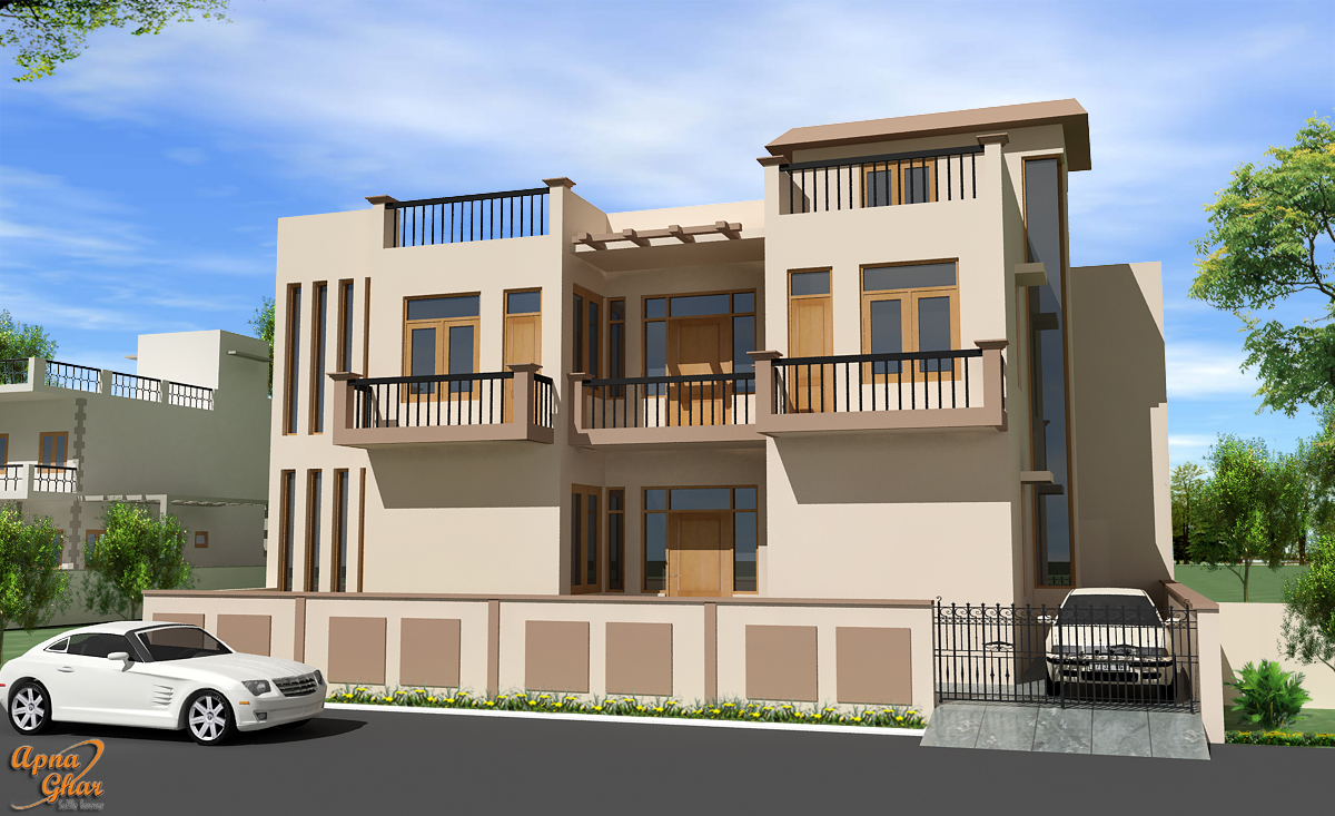 Front elevation apnaghar for Front view of duplex house in india