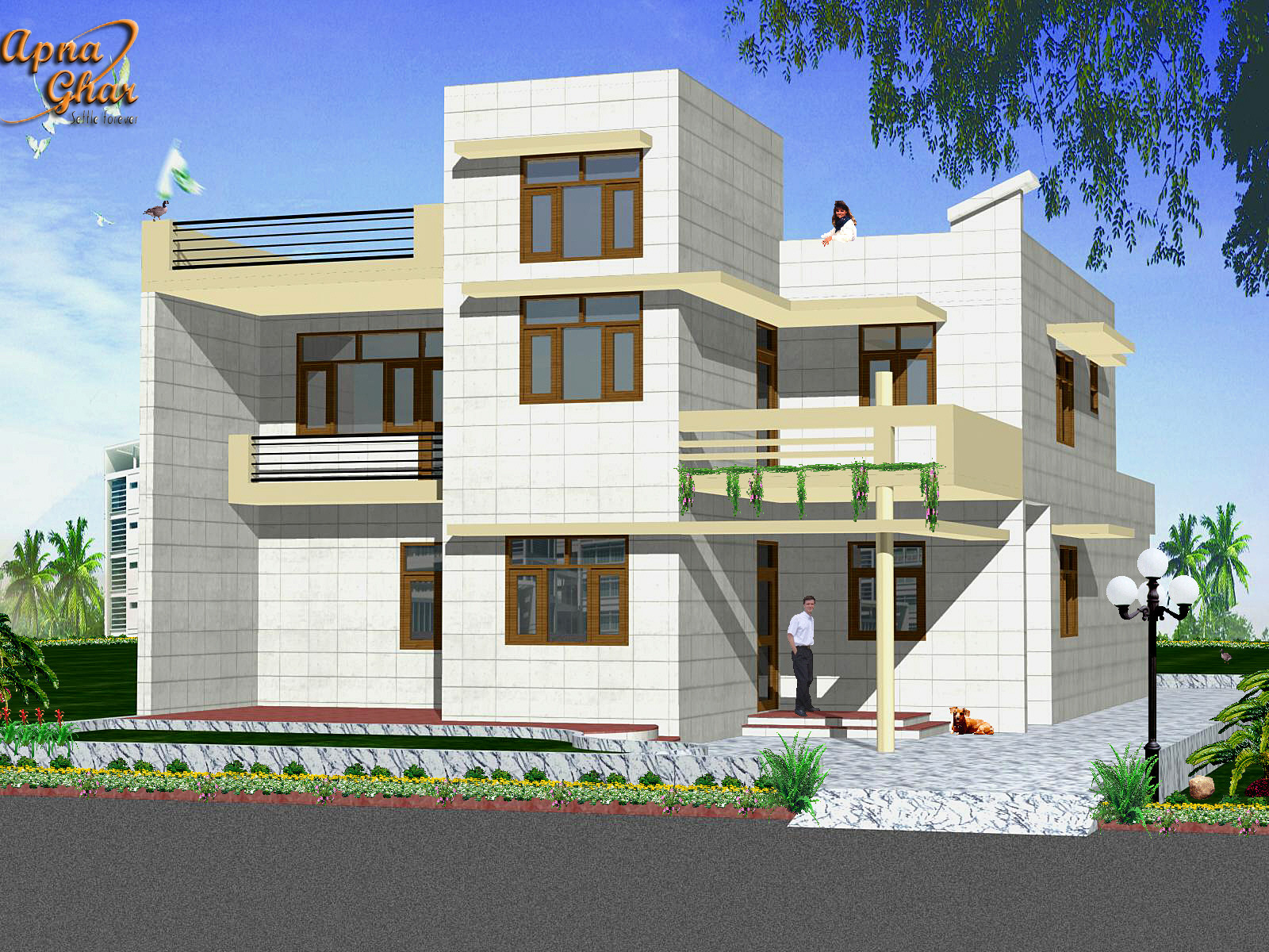 Duplex front elevation homedesignpictures for Front elevations of duplex houses