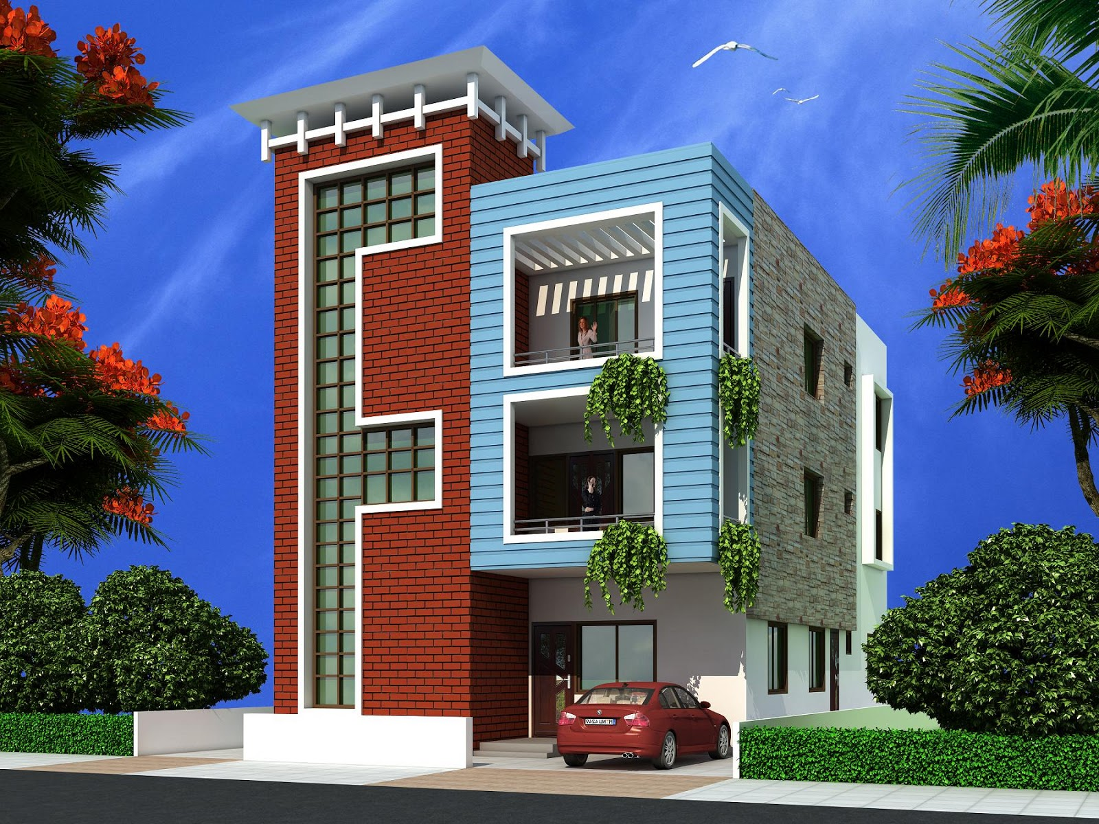 Home Front Elevation For 3 Floors : Triplex house elevations joy studio design gallery