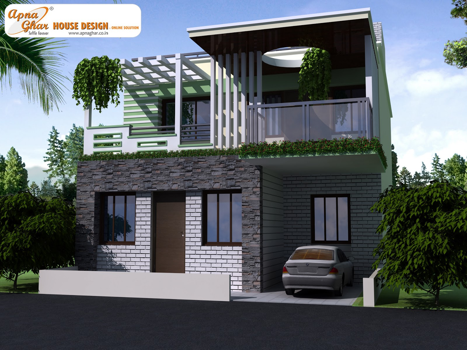 Apnaghar complete architectural solution page 41 for Front view of duplex house in india