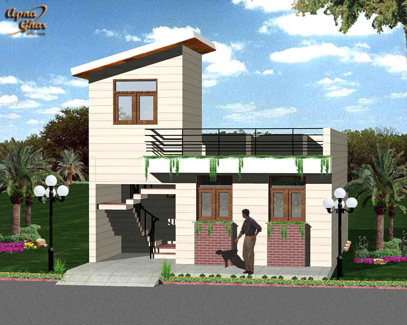 D Front Elevation Ground Floor : Apnaghar the online architectural consultants «