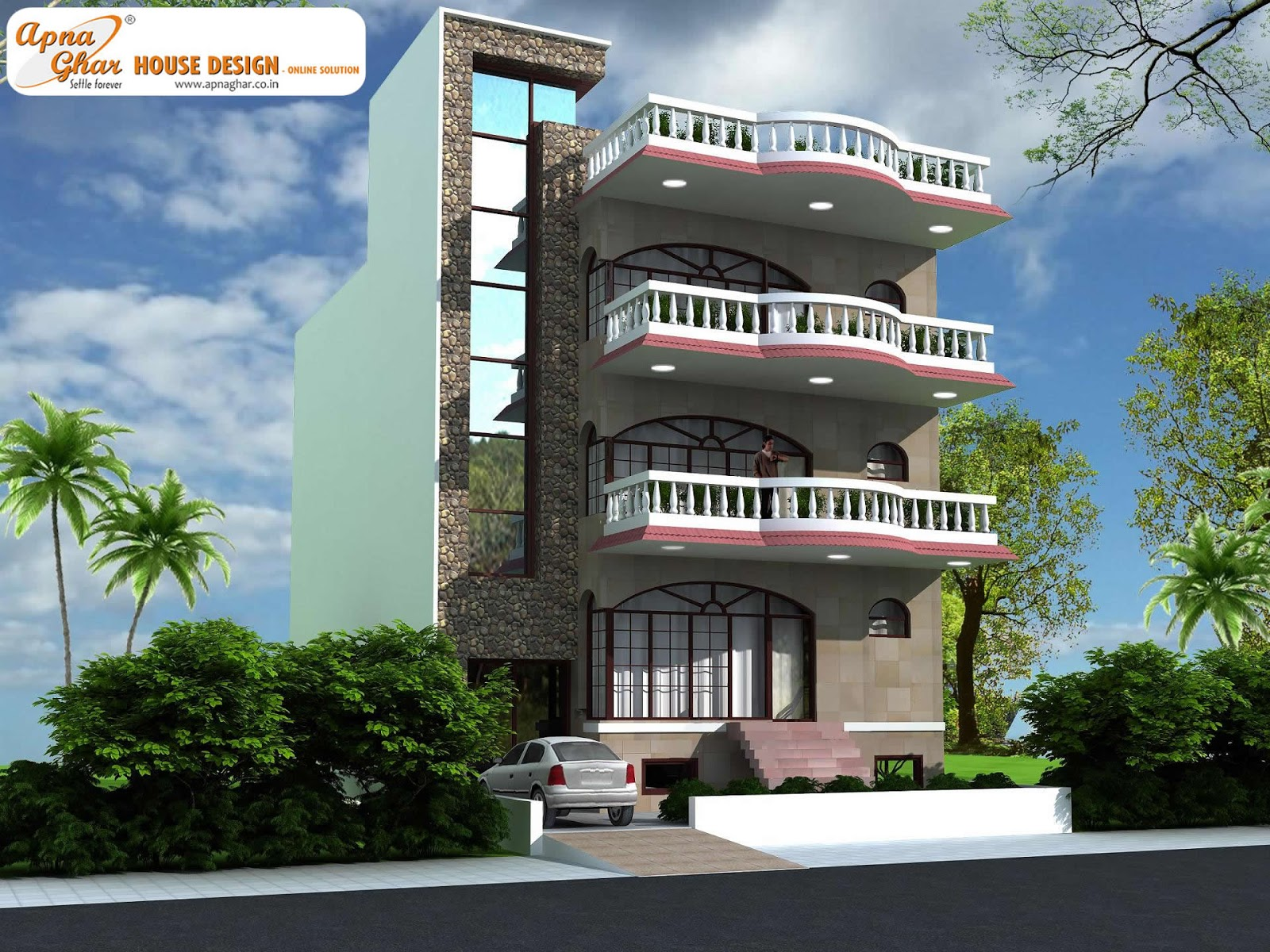 Triplex house design apnaghar page 2 - Triplex house plans cost cutting living ...
