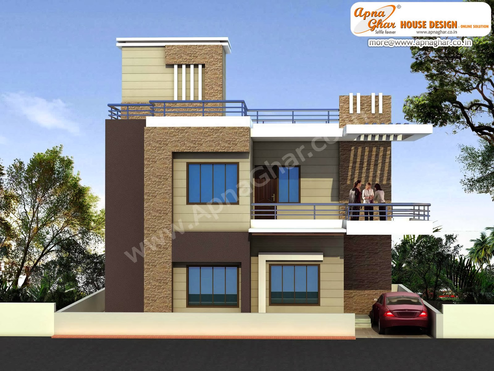 duplex house design apnaghar - Small Bungalow Elevation